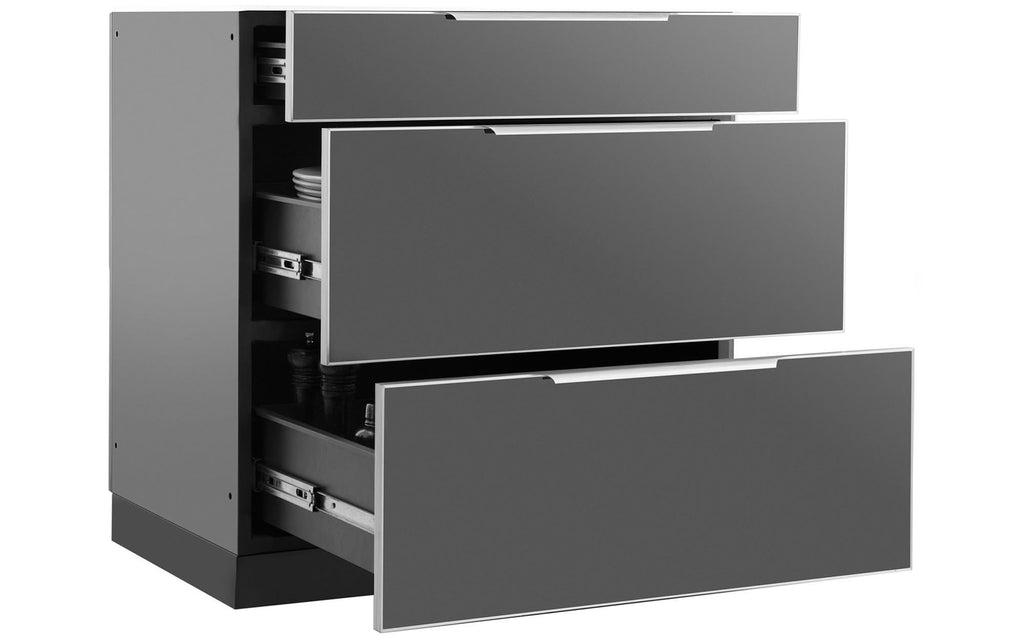 Outdoor Kitchen Aluminum Slate Gray 3-Drawer Cabinet