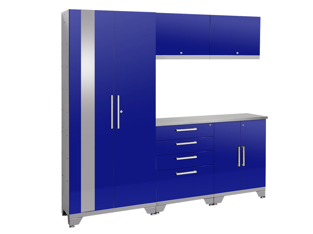 High gloss Blue / Stainless Steel / No light