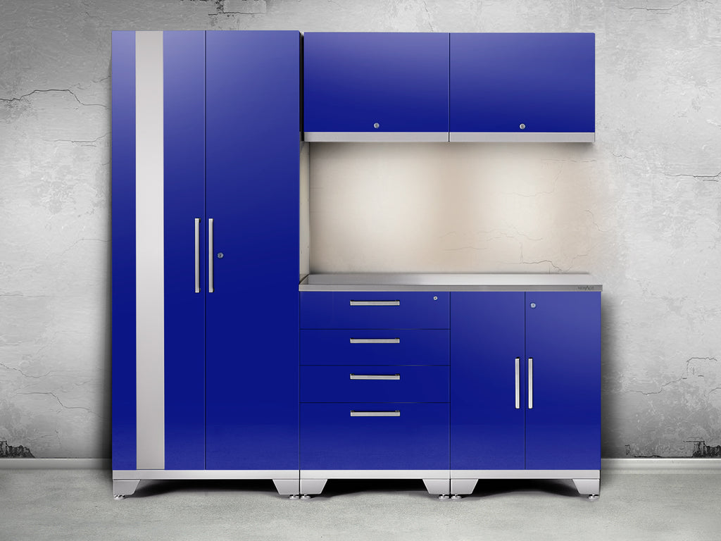 High gloss Blue / Stainless Steel / Yes add light