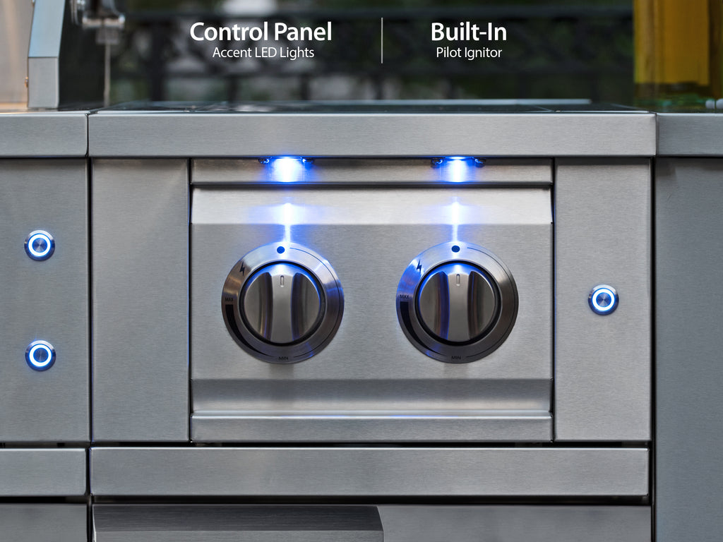 "Outdoor Kitchen Stainless Steel 16"" Cabinet with Dual Side Burner"