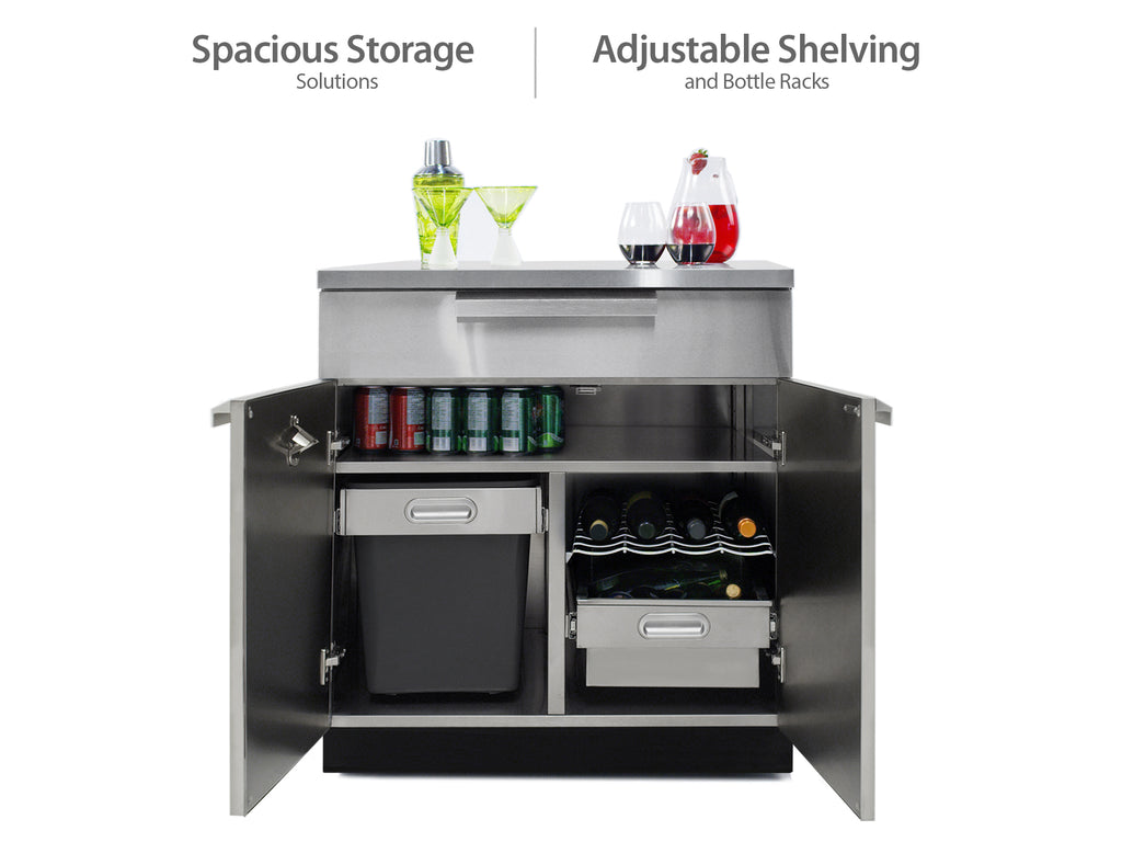 "Stainless Steel / Include Covers & Countertops / 33"" Grill Cabinet"