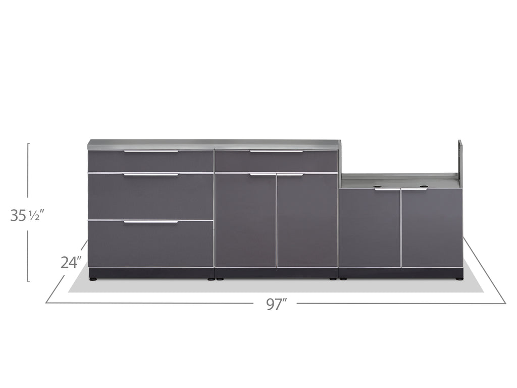"Slate Grey / Include Covers & Countertops / 33"" Grill Cabinet"