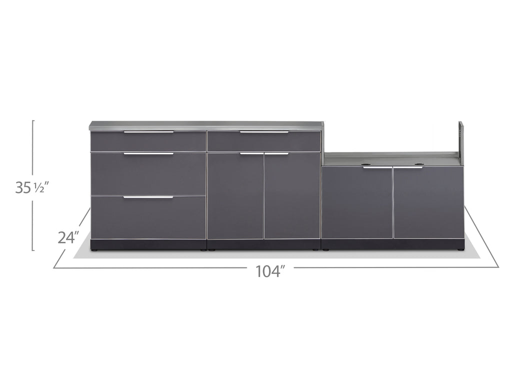 "Slate Grey / No Cover or Countertops / 40"" Grill Cabinet"