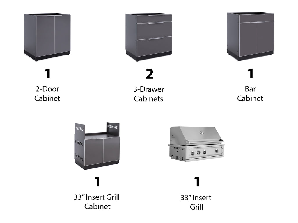 "Slate Grey / No Cover or Countertops / 33"" Grill & Grill Cabinet"