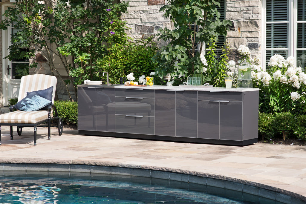 "Include Countertops / Slate Grey / 33"" Grill Cabinet"