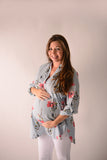 Blue Floral Maternity Notch Neck Hi-Low Top - Pretty's Bowtique
