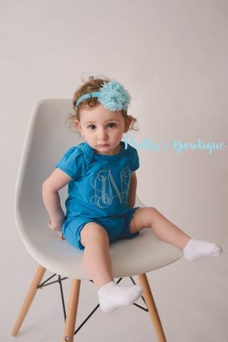 Girls Monogrammed Romper-- Girls Monogram outfit bodysuit/shirt/romper -- Girls Monogrammed outfit -- Summer outfit girls -- Personalized - Pretty's Bowtique