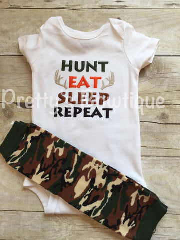 Hunt Eat Sleep Repeat bodysuit or t shirt and camo leg warmers - Baby boys coming home outfit -camo-deer-hunting-little hunter - camo - Pretty's Bowtique