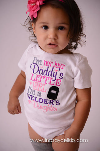 Baby Girl -- I'm not just daddy's little girl i'm a welder's daugher shirt -- Baby shower gift --welder's shirt- daddys girl- toddler - Pretty's Bowtique