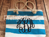 Beach Tote Bag - Monogrammed Tote Bag - Personalized Tote Bag - Personalized Custom Bag - Monogrammed Bag - Beach Bag - Travel Tote -- sale - Pretty's Bowtique