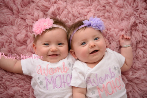 Twins outfits - Womb mates shirt or bodysuit. Perfect for hospital or coming home outfit -- Boy/Girl-- Boy/Boy-- Girl/Boy