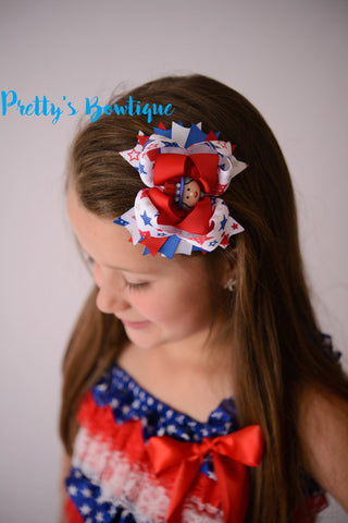 Fourth of July Bow -- Red white & Blue Bow -- 4th of July -- USA bow-- Girls OTT bow - Pretty's Bowtique