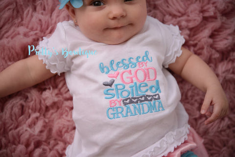 Baby Girl --Blessed by god spoiled by grandma-- Baby shower gift --Grand daughter shirt- Grandma shirt - toddler - Pretty's Bowtique