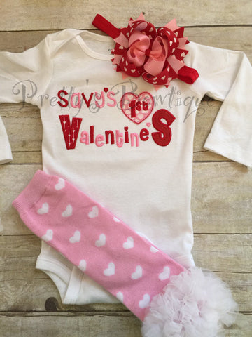Baby girl First Valentine's Day Shirt -- Valentine's Outfit --Valentine's Shirt -- 1st Valentine's Girls Shirt -- Valentine's Bow - You pick - Pretty's Bowtique