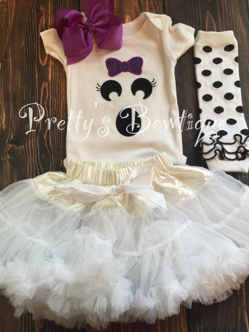 Boo Shirt Baby Girl Halloween Outfit for Newborn to Youth XL 5-pieces with Tutu, Bloomers, Leg Warmers and Headband - Pretty's Bowtique