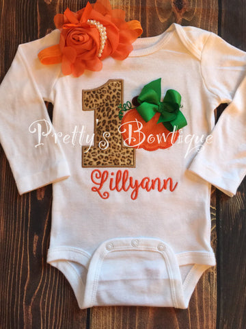 1st Birthday Pumpkin Baby Girl 5-Piece Outfit for Newborn to Youth XL with Shirt or Bodysuit, Leg Warmers, Tutu, Bloomers and Headband - Pretty's Bowtique