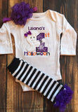 1st Halloween Baby Girl Ghost 5-Piece Outfit for Newborn to Youth XL with Shirt or Bodysuit, Leg Warmers. Tutu, Bloomers and Headband - Pretty's Bowtique
