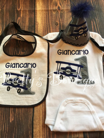 Airplane Birthday Outfit For Boys First With Matching Hat Bib