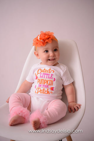 Cutest Pumpkin in the patch Bodysuit or shirt girls -- Pumpkin outfit shirt, headband, tutu and legwamers -- Baby Girl Fall Outfit --Pumpkin - Pretty's Bowtique