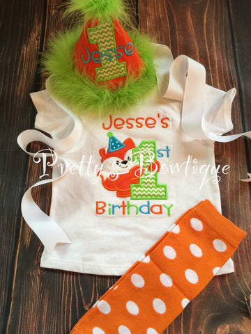 Boys Fox Birthday Shirt With Matching Hat Legwarmers Bib Woodland