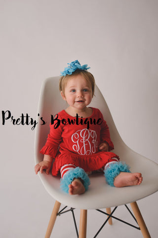 Baby, Girl and Toddler Monogram Dress in 9 Colors Sizes 6 Months to 6X - Pretty's Bowtique
