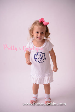 Monogram Girls Dress in 8 Colors – Sizes 6 Months to Girls 6X - Pretty's Bowtique
