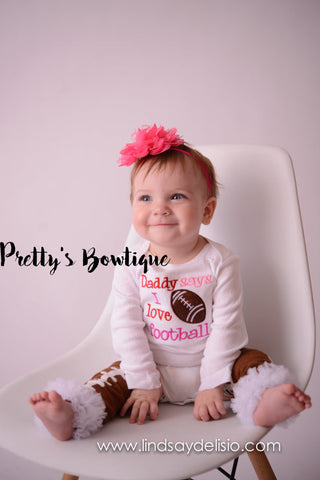 Daddy says I love football Girls Football Outfit – Sizes Newborn to Youth XL - Pretty's Bowtique