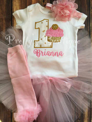 8f153c201f192 Pink and Gold First Birthday Outfit Set for Girl – T Shirt, Tutu & Flower  Headband-- Cupcake -- cupcake birthday outfit