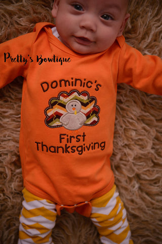 Boy 1st Thanksgiving T Shirt / Bodysuit for Baby, Toddler & Child Personalized with Name - Pretty's Bowtique