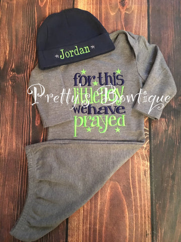 Baby Boy coming home outfit-- For this Little boy I or we have Prayed gown and hat -- take home outfit -- For this child I have prayed - Pretty's Bowtique