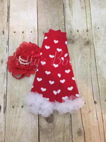 Baby Girl Valentines Set of Heart Leg Warmers and Red Flower Headband - Pretty's Bowtique