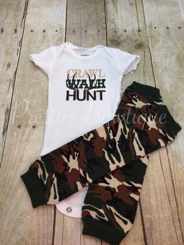Crawl walk hunt shirt and camo leg warmers ***CRAWL WALK HUNT**** camo-deer-hunting-little hunter - Pretty's Bowtique