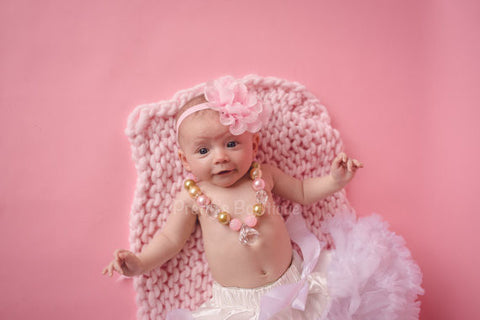 Chunky Bead Necklace - white Petti skirt - Flower Headband you select pieces Pink and Gold - Pretty's Bowtique