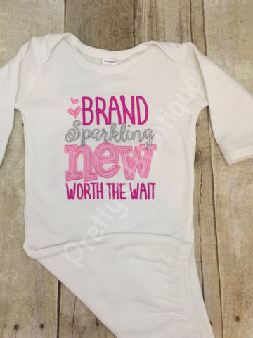 Baby girl Worth the Wait gown. Perfect for hospital or coming home outfit hot pink - Pretty's Bowtique