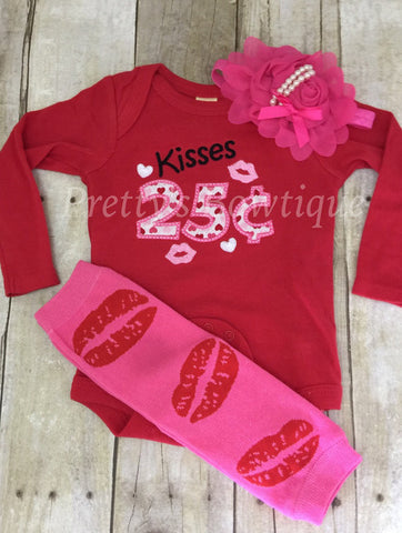 Baby Girl Valentines Outfit – Kisses 25 Cents – with Lip Leg Warmers, and Tulle and Pearl Headband in Sizes 3 Months to XL14 - Pretty's Bowtique