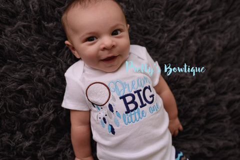 Baby Boy Dream Big Little One --Dream Big little one shirt or bodysuit dream catcher. Perfect for hospital or coming home outfit - Pretty's Bowtique