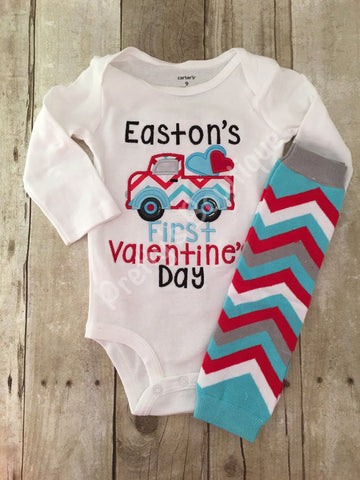 Baby Boy 1st Valentines Outfit with Chevron Leg Warmers – Sizes Newborn and up - Pretty's Bowtique