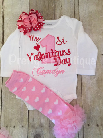 1st Valentines Outfit with Heart Leg Warmers and Ribbon Hair Bow – Sizes Newborn and up - Pretty's Bowtique