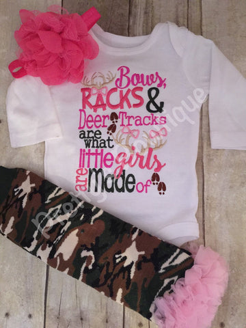 Girls Camo Hunting Shirt or bodysuit -- you pick the pieces -- Bows, racks & deer tracks are what little girls are made of - Pretty's Bowtique