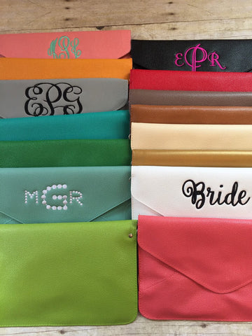 clutch purse monogrammed clutch personalized evenlope clutch