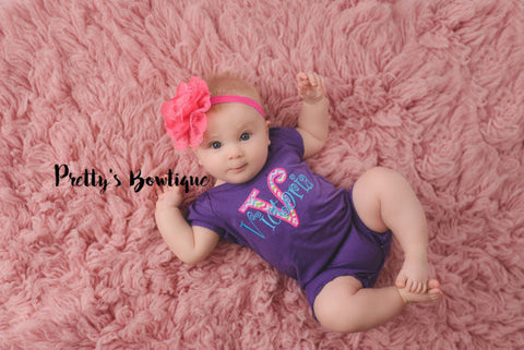 Baby Girl Summer Romper- Monogrammed girls shirt - Personalized girls outfit-- Girls outfit bodysuit/shirt/romper -- Girls outfit - Pretty's Bowtique