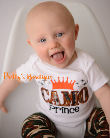 Camo Prince bodysuit or t shirt and camo leg warmers - Baby boys coming home outfit -camo-deer-hunting-little hunter - camo Boys t shirt - Pretty's Bowtique