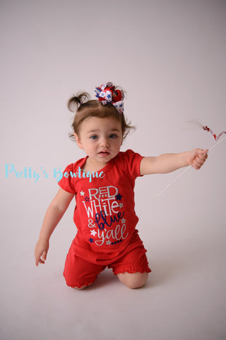 4th of July Baby Girl Summer Romper- Fourth of July girls shirt -- Girls outfit bodysuit/shirt/romper-- Red white & Blue y'all - Pretty's Bowtique