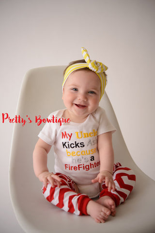Baby Girl -- Firefighter Hero shirt -- Baby shower gift --My uncle kicks ash he's a firefighter - Can customized for grandpa•mom•uncle•etc - Pretty's Bowtique