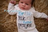Baby Boy coming home outfit -- For this Little boy I or WE have Prayed baby gown and hat - Pretty's Bowtique
