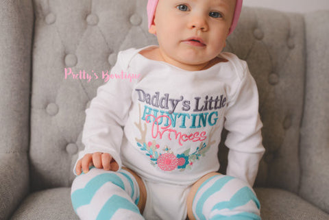 Daddy's Little hunting princess- bodysuit or t shirt, bow, and legwarmers -- Girls outfit -- Girls Princess outfit -- Daddy's girl hunting - Pretty's Bowtique