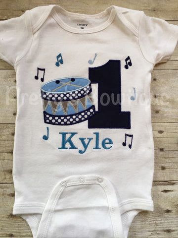 Boys Drum Birthday Shirt -Music Birthday Shirt - any age or colors - Pretty's Bowtique