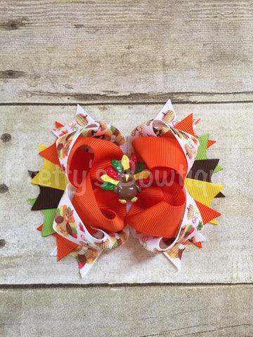 Thanksgiving Bow -- Turkey Bow -- Fall Headband -- girls thanksgiving bow  -- Girls OTT bow - Pretty's Bowtique