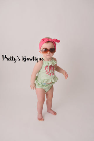 Girls Monogrammed Swimsuit -- Seersucker Bikini- Ruffled Baby Swimsuit --2 pc Girls- Monogrammed Bathing Suit-- 12M through 5/6 - Pretty's Bowtique