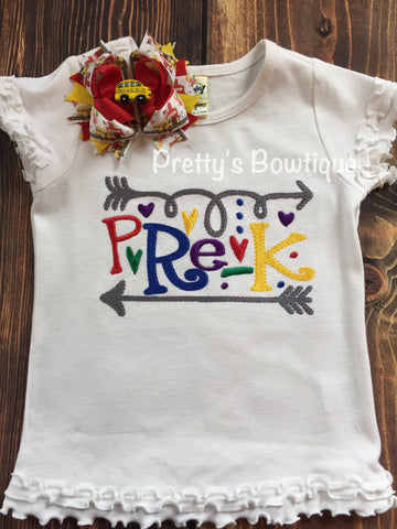 Girls Back to School Shirt -- Pre- K-- Kindergarten-- 1st Grade- 2nd grade -- B2S bow  -- Back to school outfit -- Any grade - Pretty's Bowtique